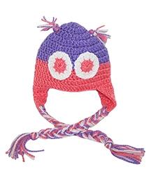 Kadambaby Crochet Woolen Cap - Purple And Orange