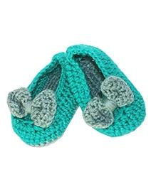 Kadambaby Crochet Woolen Booties - Green