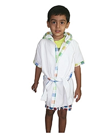 Kadambaby Short Sleeve Cotton Terry Hooded Multi Check Bathrobe - White