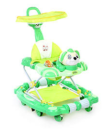 Musical Baby Walker with Push Handle - Green
