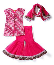 Shruti Jalan Ethnic Sharara Kurta & Dupatta Set - Hot Pink
