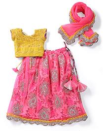 Shruti Jalan Ethnic Sharara Kurta & Dupatta Set - Pink & Yellow