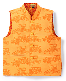 Shruti Jalan Vintage Car Print Waistcoat - Orange
