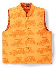 Shruti Jalan Vintage Car Print Waistcoat - Orange