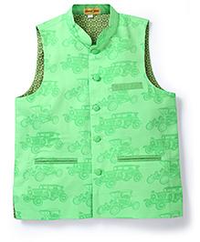 Shruti Jalan Vintage Car Print Waistcoat - Green