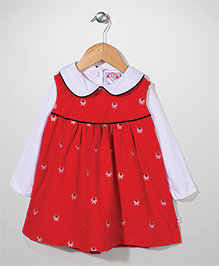 Baby League Butterfly Embroidered Frock With Inner Tee - Red