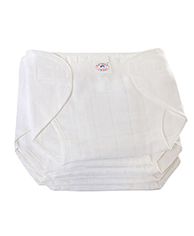 Mother Choice Nappy with Velcro White Large - Set of 6