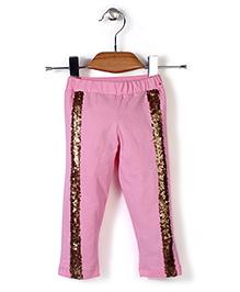 Babyhug High Fashion Leggings With Sequin Work - Pink