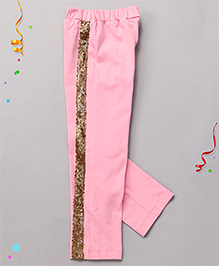Babyhug High Fashion Leggings With Sequin Work - Pink