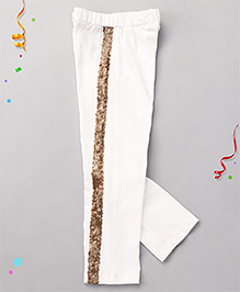 Babyhug High Fashion Leggings With Sequin Work - White