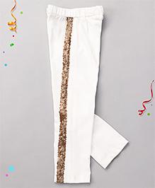 Babyhug High Fashion Leggings With Sequin Work - White