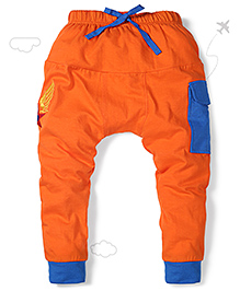 Flight Deck by Babyhug Parachute Pants Star Embroidery - Orange