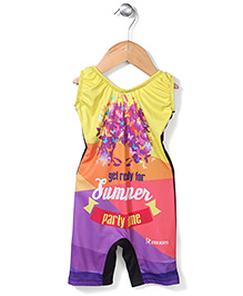 Rovars Legged Swimsuit Summer Print - Multicolour