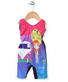 Rovars Legged Swimsuit Vehicle Print - Multicolour