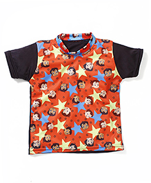 Chhota Bheem Printed Swim T-Shirt - Orange Black