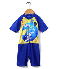 Rovars Half Sleeves Diving Suit Surf Print - Blue and Yellow