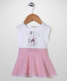 Fox Baby Sleeveless Frock Floral Print & Bow Applique - White Light Pink