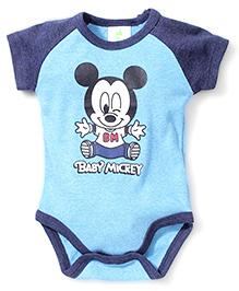 Fox Baby Half Sleeves Onesies Baby Mickey Print - Blue