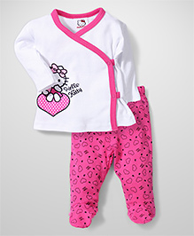 Fox Baby Full Sleeves Top And Bootie Legging Hello Kitty Print - White & Pink