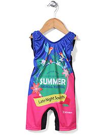 Rovars Legged Swimsuit Tropical Print - Multicolour