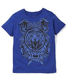 Anthill Half Sleeves Tiger Print T-Shirt - Royal Blue
