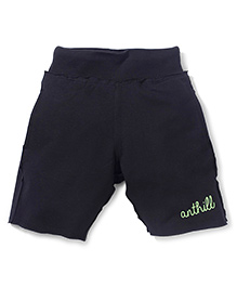 Anthill Printed Terry and Lycra Shorts - Black