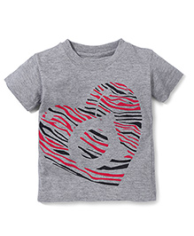 Anthill Half Sleeves T-Shirt Heart Print - Grey