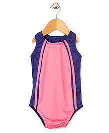 Anthill Sleeveless Swimsuit - Pink And Blue