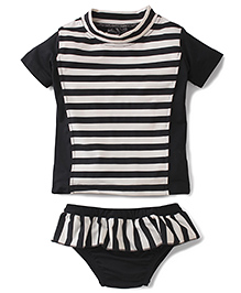 Anthill Half Sleeves Swim Suit Stripes Print - Black & White