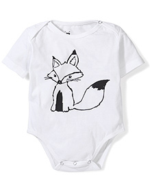 Anthill Half Sleeves Onesie Fox Print - White