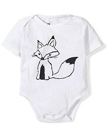 Anthill Half Sleeves Onesie Fox Print - White
