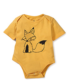 Anthill Half Sleeves Onesie Fox Print - Yellow