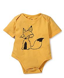 Anthill Half Sleeves Onesie Fox Print - Yellow