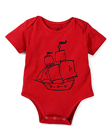 Anthill Half Sleeves Onesie Ship Print - Red