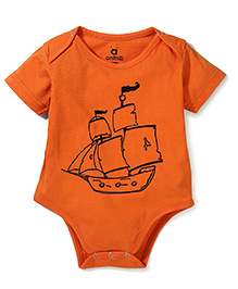 Anthill Half Sleeves Onesie Ship Print - Orange