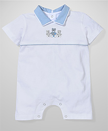 Anthill Collar Neck Romper Teddy Print - White & Sky Blue