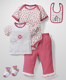 Little Wacoal Flower Print Multi Piece Set - Pink