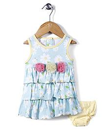 Little Wacoal Flower Print Dress With Bloomer - Aqua Blue