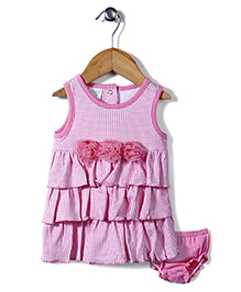 Little Wacoal Checkered Dress With Bloomer - Pink