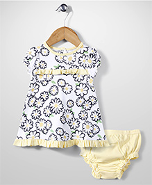 Little Wacoal Flower Print Dress With Bloomer - Yellow