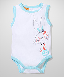 Little Wacoal Rabbit Print Onesie - Blue