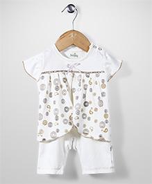Babyhug Cap Sleeves Romper Bow Applique - Cream