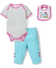Little Wacoal Striped Multi Piece Set - Blue & Pink