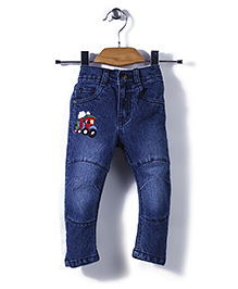 Babyhug Full Length Jeans Engine Embroidery - Blue