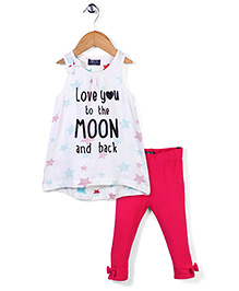 Little Wonder Moon Print Leggings And Top Set - White & Pink