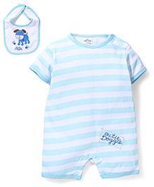 Little Wacoal Stripe Print Dress With Bloomer - White & Aqua Blue