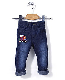 Babyhug Full Length Jeans Engine Embroidery - Dark Blue