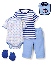 Little Wacoal Set Of 5 With Anchor Print - Blue