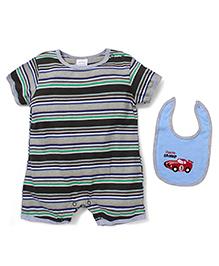 Baby Mini Striped Print Romper With Bib - Multicolour