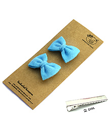 Pigtails And Ponys Felt Bow Hair Clips - Blue - 830768